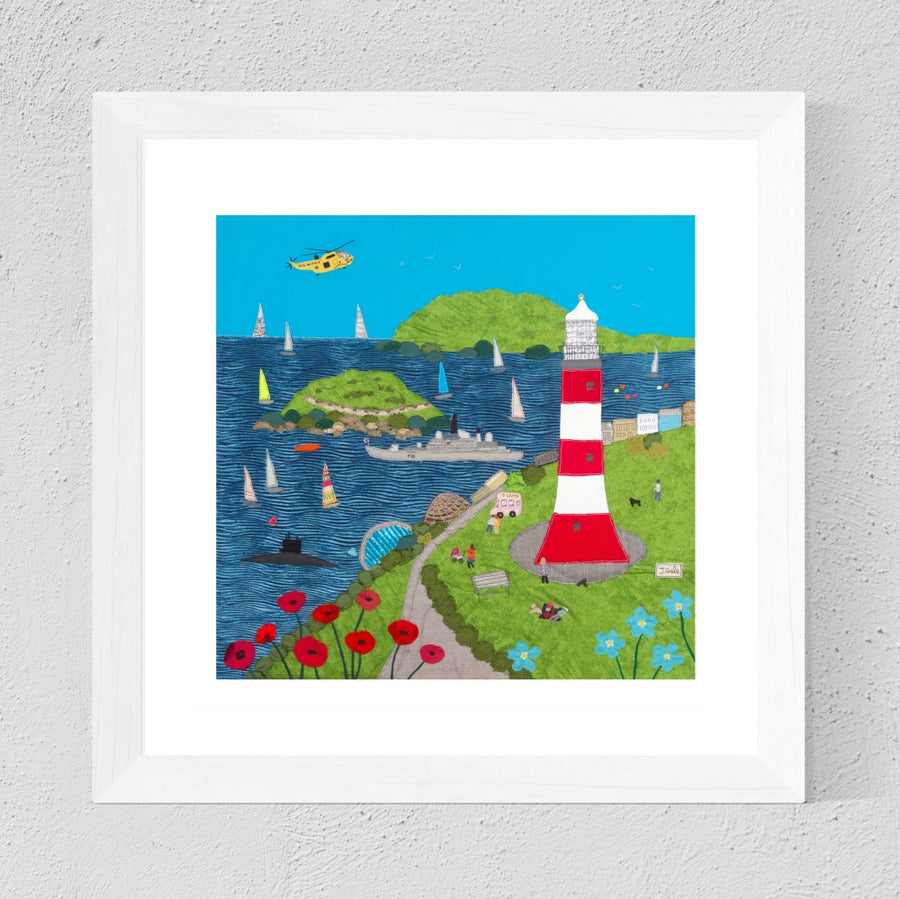 Plymouth Hoe Art Print, Jackie Gale Textile Art