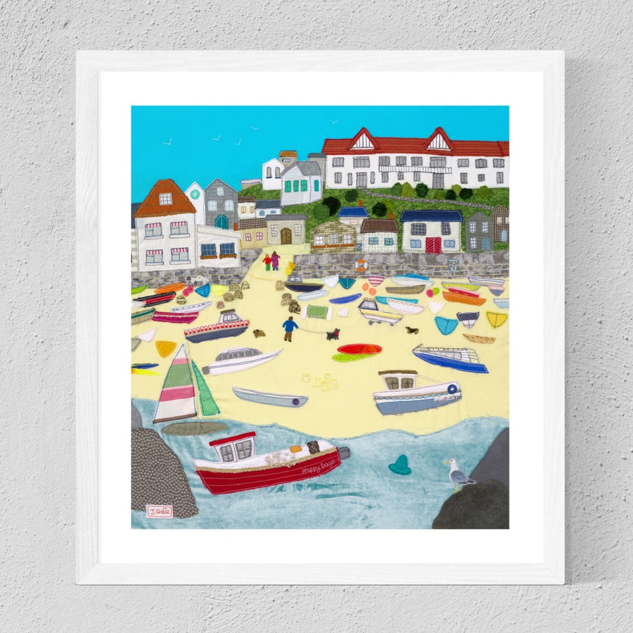 Hope Cove - Framed Art Print by Textile Artist, Jackie Gale
