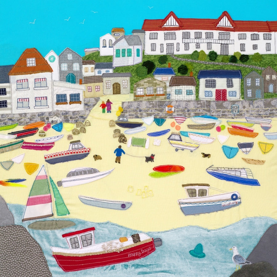 Hope Cove Textile Art Print by Jackie Gale, Devon Artist