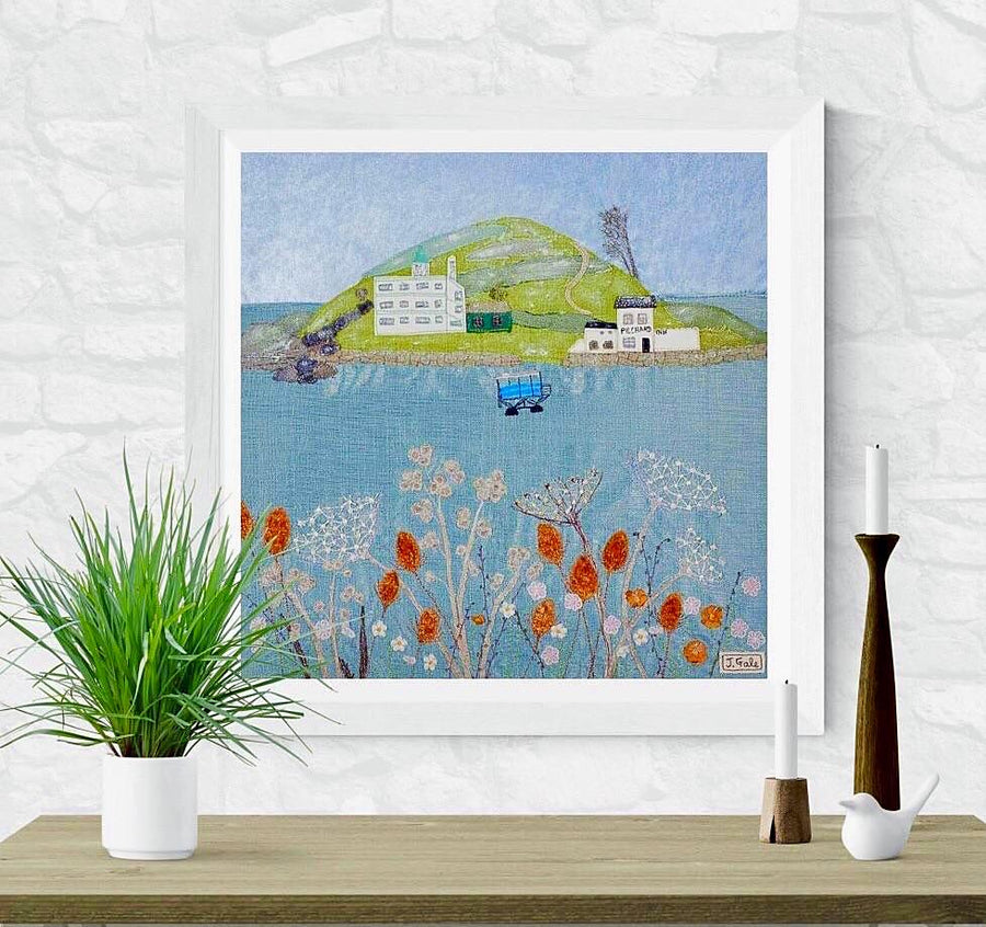 Burgh Island - Fine Art Print by Jackie Gale, Textile Artist