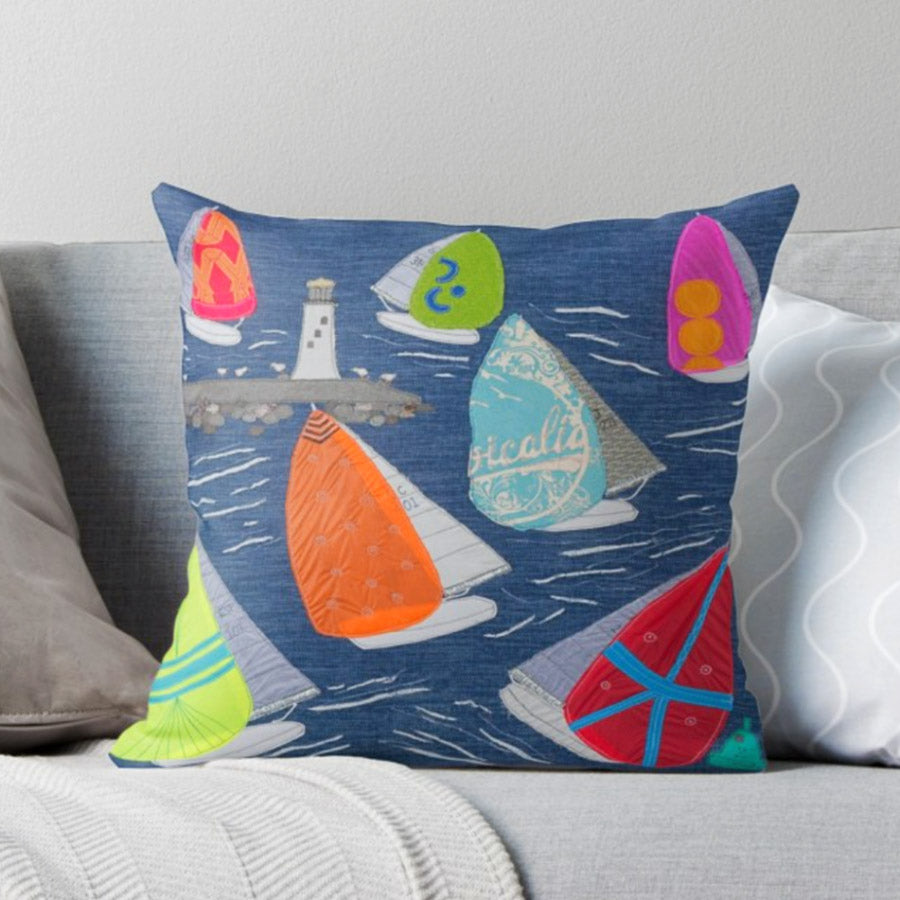 Jibe Ho Sailing Boat Cushion - Jackie Gale Textile Art Design