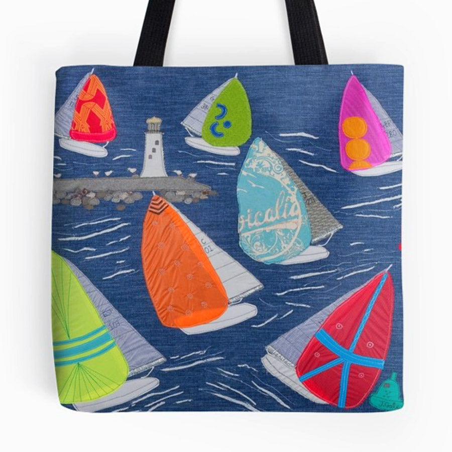 Jibe Ho - Sailing Boat Bag by Jackie Gale, Devon Textile Artist