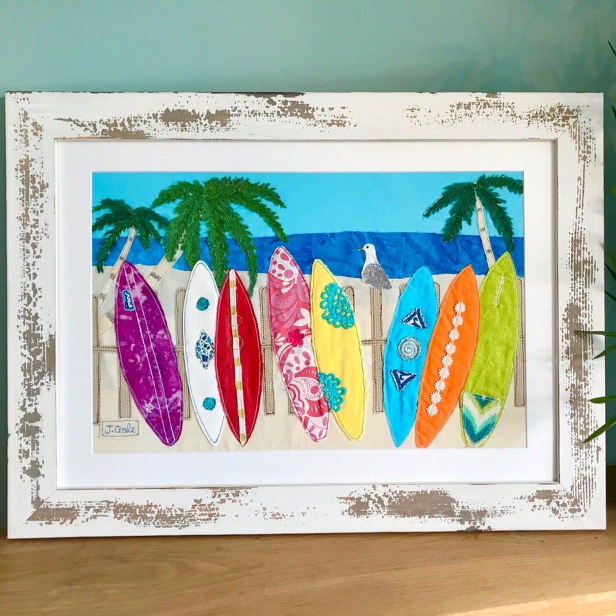 Surfboards Coastal Textile Art By Jackie Gale