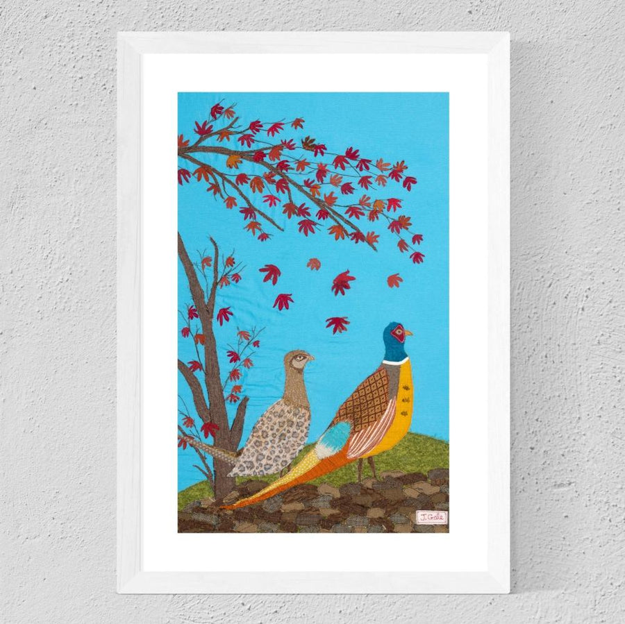 Pheasants 'The King And I' Original Art By Jackie Gale, Textile Artist