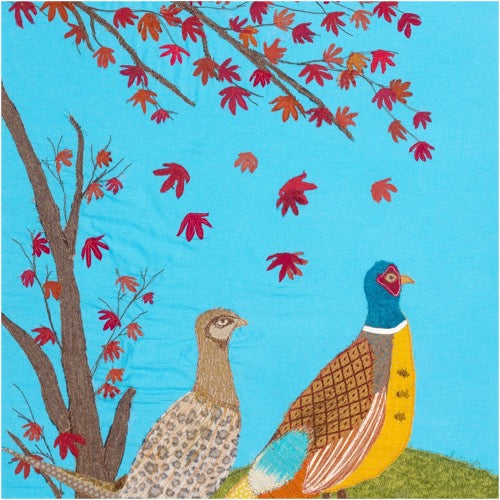 The King And I - Pheasants by Jackie Gale, Devon Textile Artist