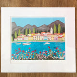 Lake Como, Mounted Textile Art Limited Edition Print