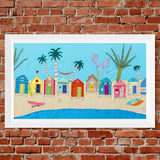Beach Hut Textile Art by Jackie Gale, Devon Artist. Limited Edition Print