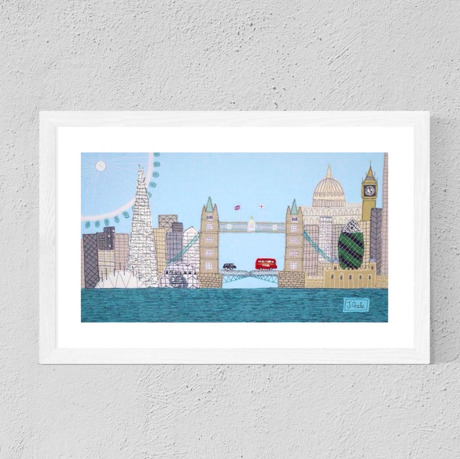 London Cityscape, Textile Art Print by Jackie Gale