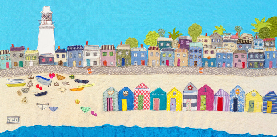 Beach Textile Art by Jackie Gale, Textile Artist, Devon
