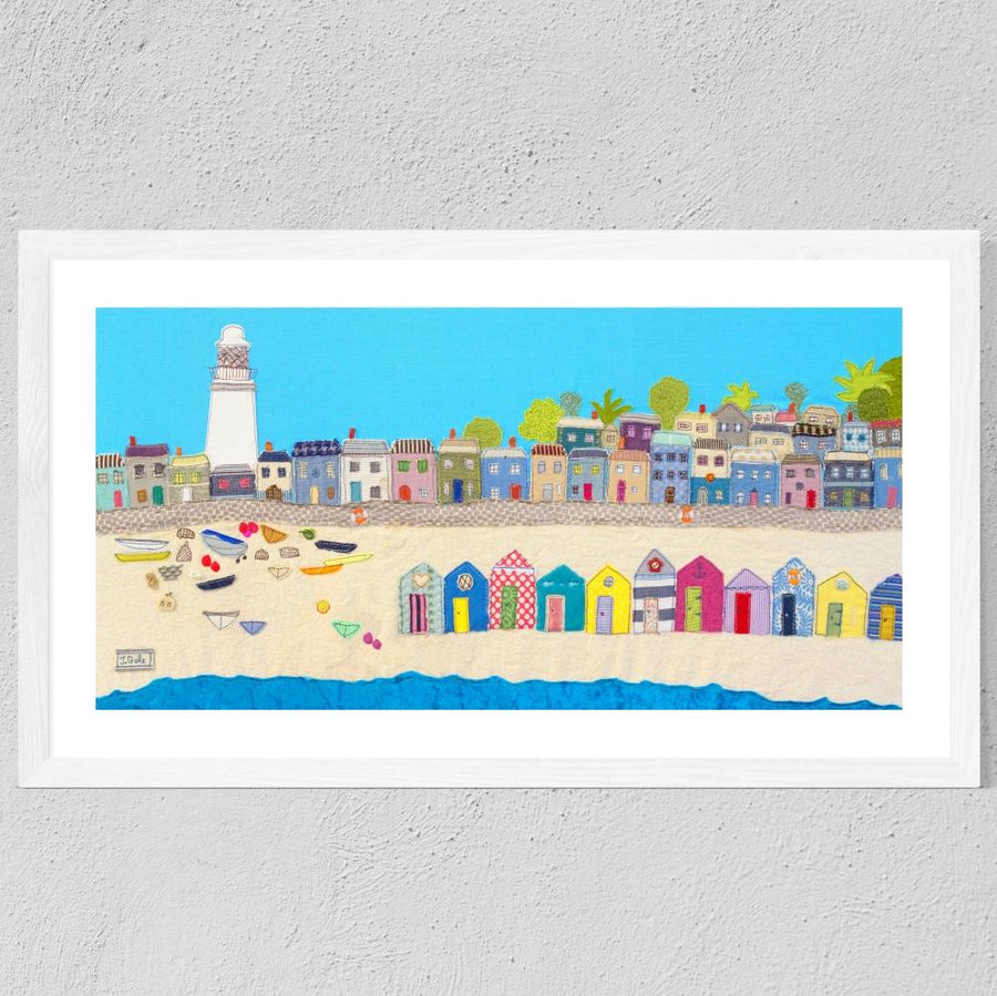 Beach Textile Art, Suffolk, Framed Print By Jackie Gale