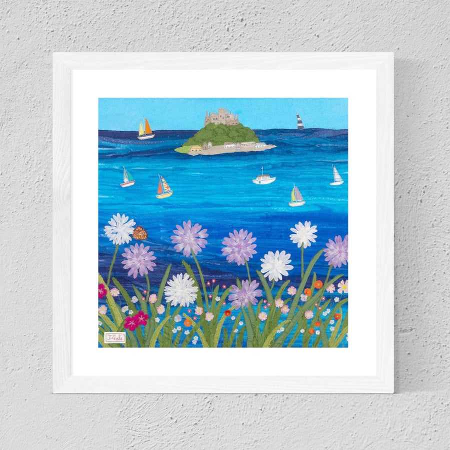 St Michaels Mount, Framed Textile Art Print By Jackie Gale