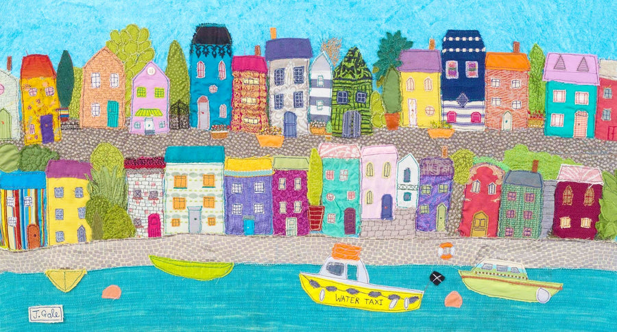Sea Town - Textile Artwork By Jackie Gale