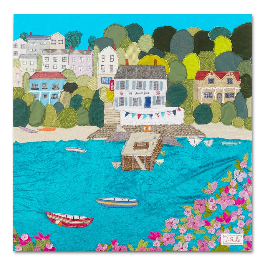 Swan Inn, Noss Mayo, Devon - Textile Art Box Canvas Print Picture