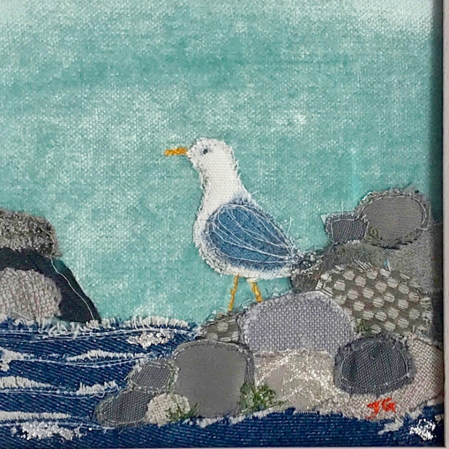 On The Rocks - Seagull Close Up - Jackie Gale Textile Art