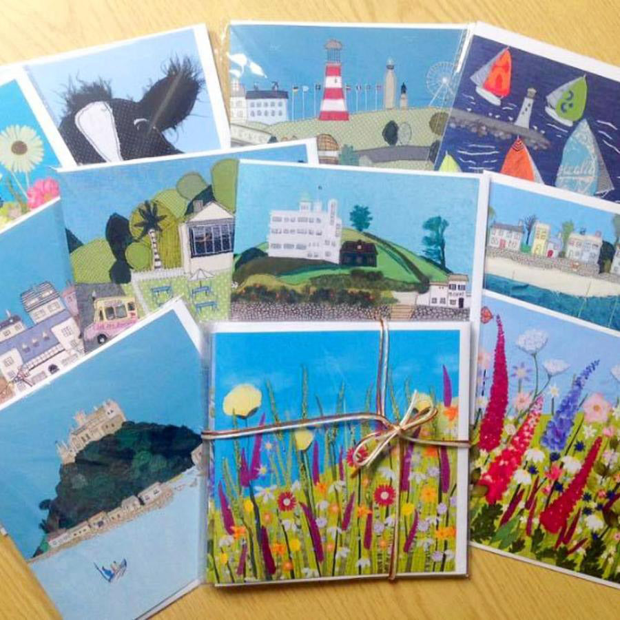 Pack of 6 Greeting Cards (Assorted Designs) by Jackie Gale, Textile Artist