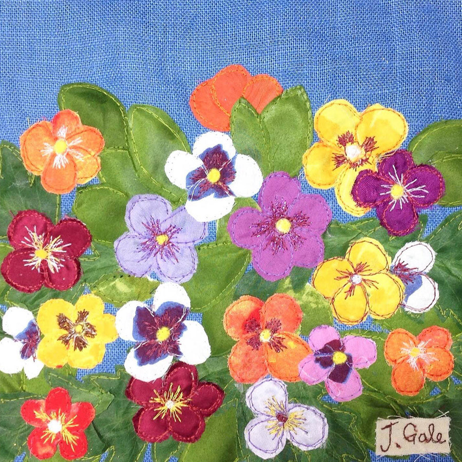 Pansies Winter Colour Flowers Textile Art