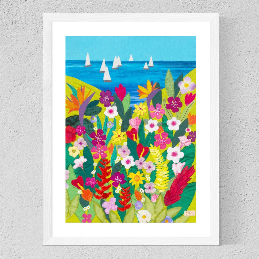 Tropical Flowers Paradise Art Print by Jackie Gale, Textile Artist