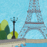 Eiffel Tower, Free Motion Embroidery Art By Jackie Gale