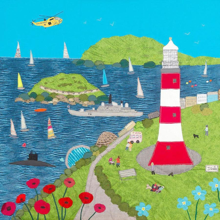 Fun On The Hoe - Plymouth Print - Jackie Gale Textile Art