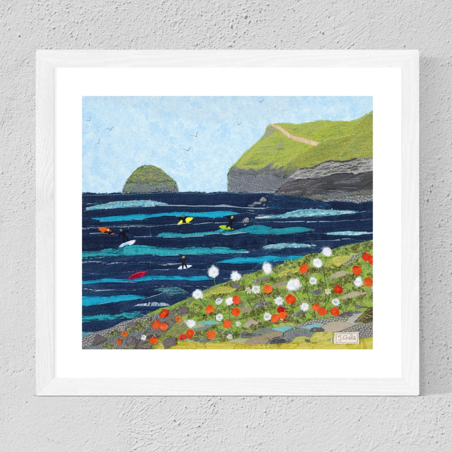 Polzeath, Cornwall - Textile Art Print By Jackie Gale