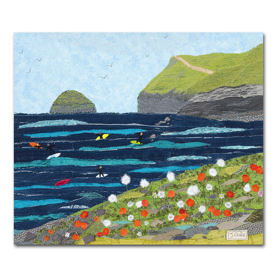 Polzeath, Cornwall, Surfers - Textile Art Print by Jackie Gale
