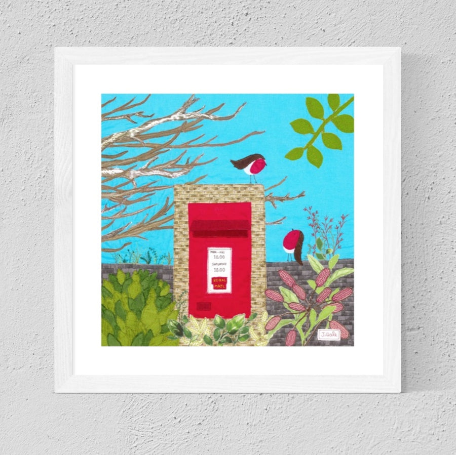 Robins On Postbox - Textile Art by Jackie Gale
