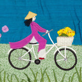 Vietnamese Lady On Bike - Miss Saigon, Textile Art By Jackie Gale