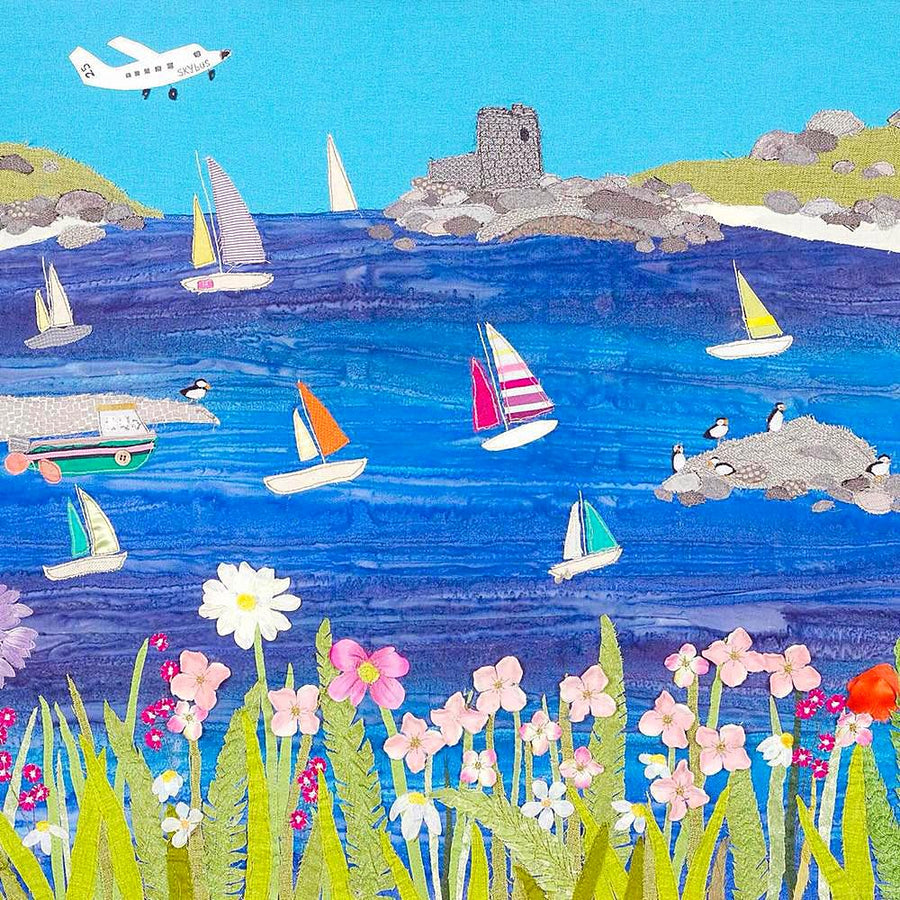 A  picture of sailing boats around the Scilly Isles - art by Jackie Gale
