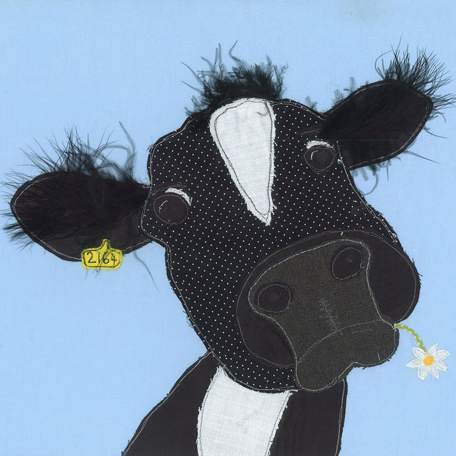 Picture of Silly Cow - Textile Art Print - Jackie Gale, Devon Artist
