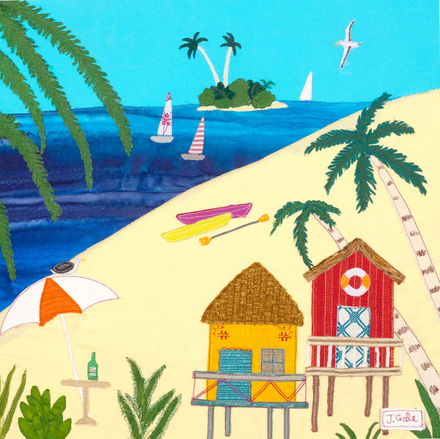 South Pacific Beach - Art Print - Jackie Gale Textile Art, Devon