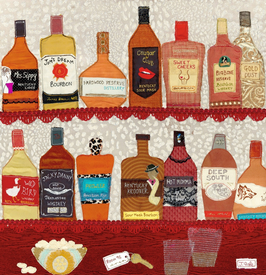 Speakeasy Bourbon Textile Art Original By Jackie Gale