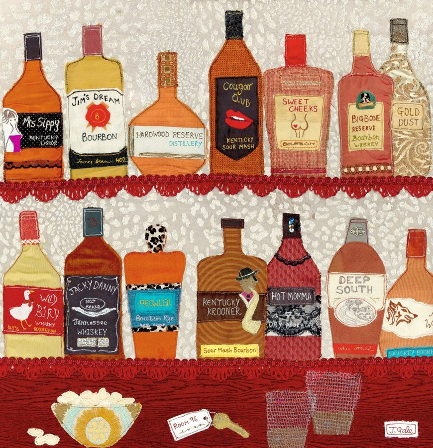 Speakeasy - Bourbon Art Print - Jackie Gale Textile Art