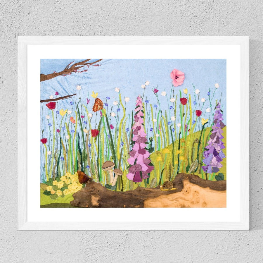Spring Flowers Textile Art Print By Jackie Gale Artist