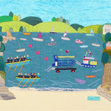 South Sands, Salcombe - Art Print by Jackie Gale, Textile Artist, Devon