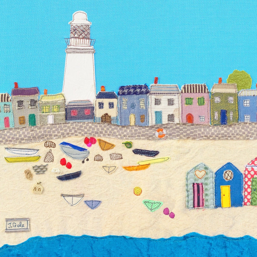 Meet Me At The Beach - Textile Art by Jackie Gale