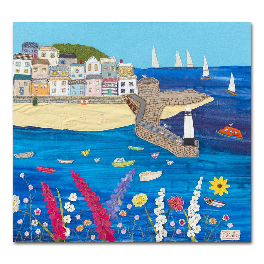 St Ives, Cornwall - Textile Art Box Canvas Print by Jackie Gale