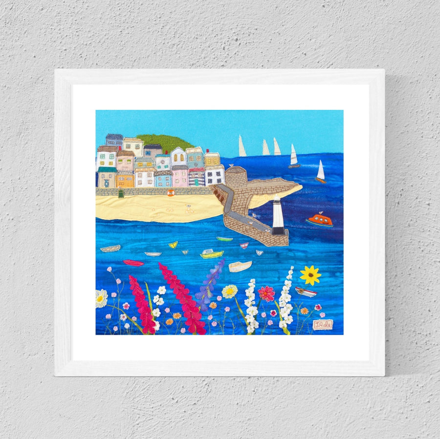 St Ives Textile Art Print By Jackie Gale