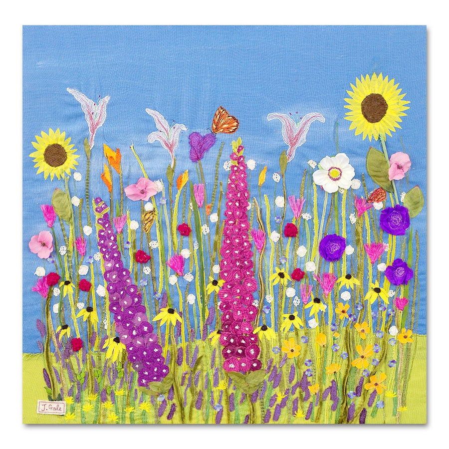 Summer Flowers, Textile Art Box Canvas Print by Jackie Gale