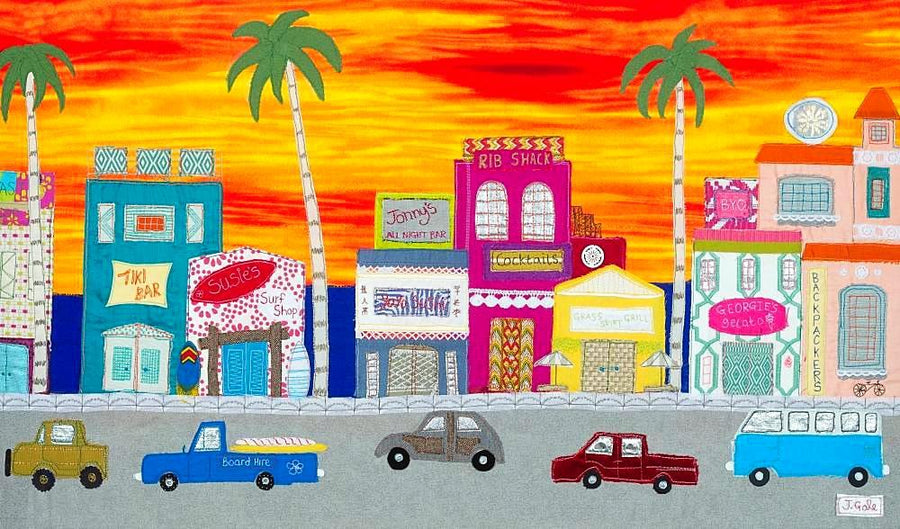 Sunset Boulevard - Original Textile Artwork - Jackie Gale