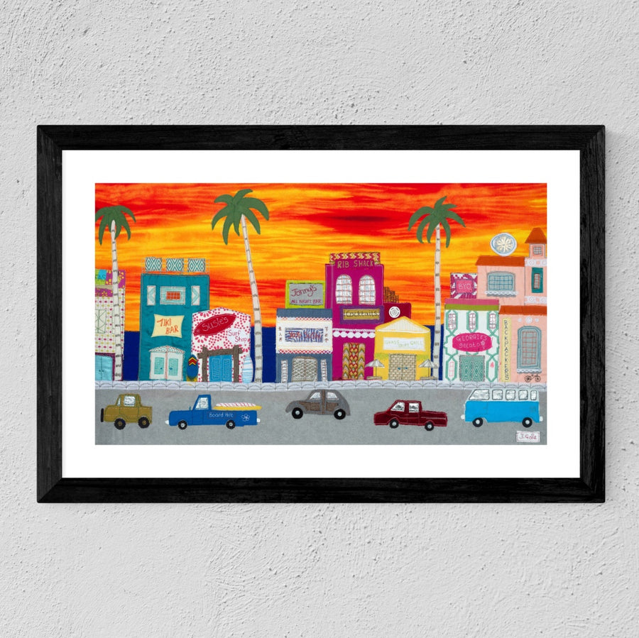 Framed Sunset Boulevard By Jackie Gale, Textile Artist