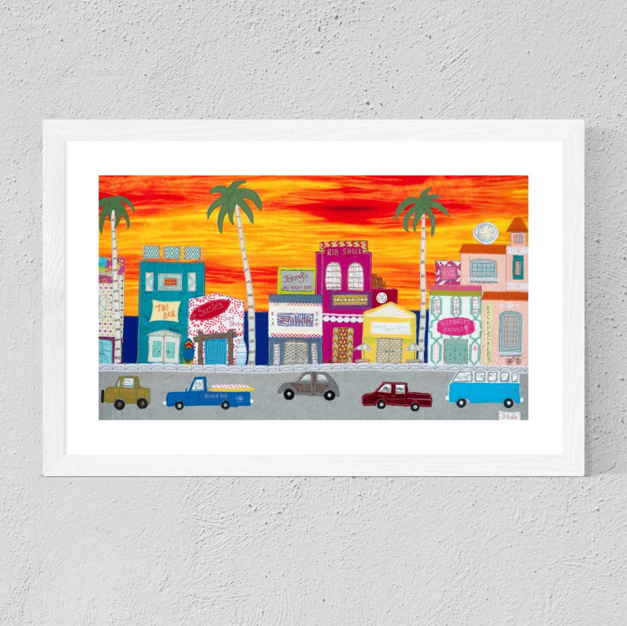 Sunset Boulevard, Framed Textile Art Print By Jackie Gale