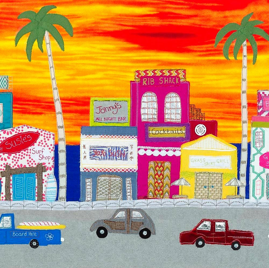 Sunset Boulevard - Art Print by Jackie Gale, Textile Artist, Devon