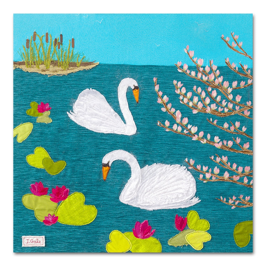 Swan Lake, Original Textile Art by Devon Artist, Jackie Gale