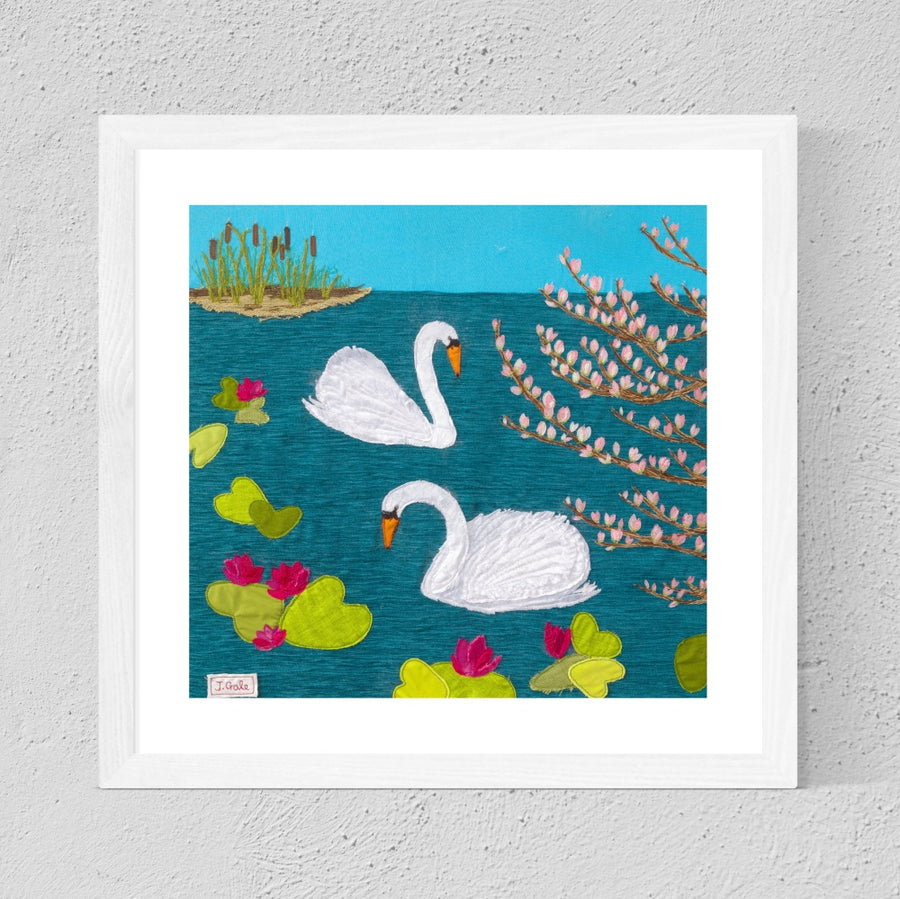 Swan Lake, Framed Textile Art Print By Jackie Gale