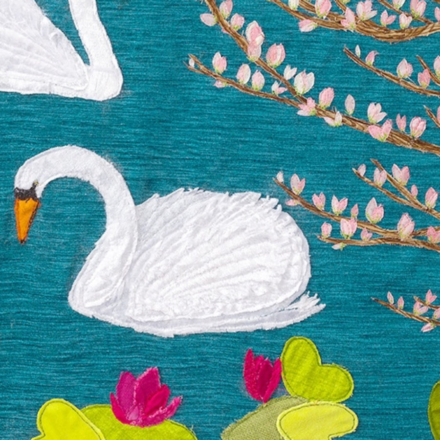 Close Up Of Original Swan Textile Art By Jackie Gale