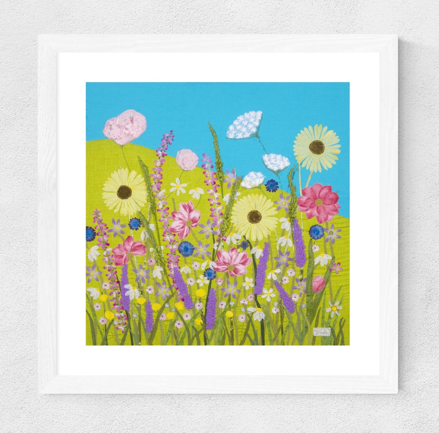 Summer Flowers, Framed Textile Art Print By Jackie Gale
