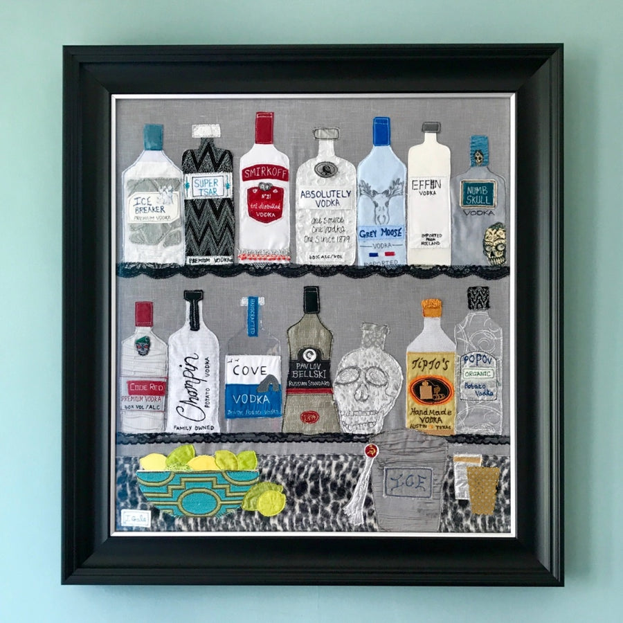 Vodka Textile Art Original By Jackie Gale, Devon Artist
