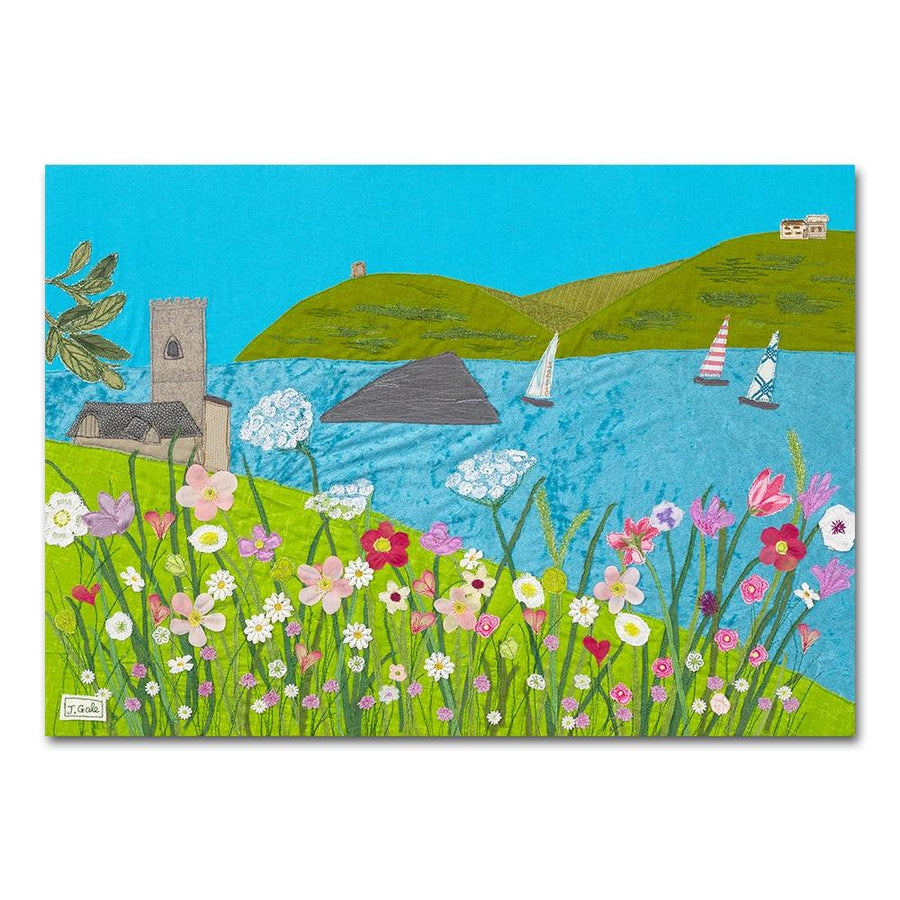 Wembury, Devon, Textile Art Box Canvas Print by Jackie Gale