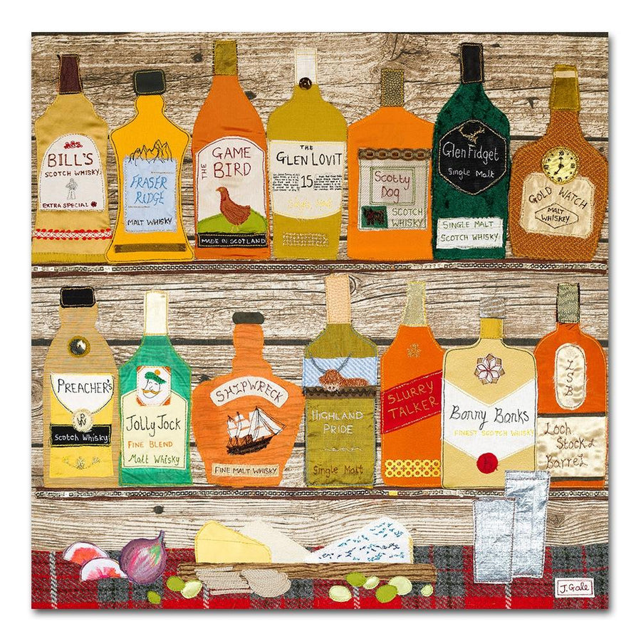 Whisky Galore, Textile Art Print By Jackie Gale