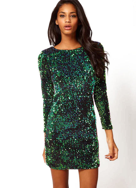 Sequin Party Dress with Sleeves